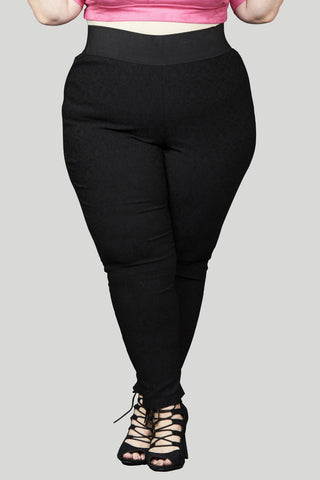 High Waisted Serena Damask Pull On Skinny Pant - Black
