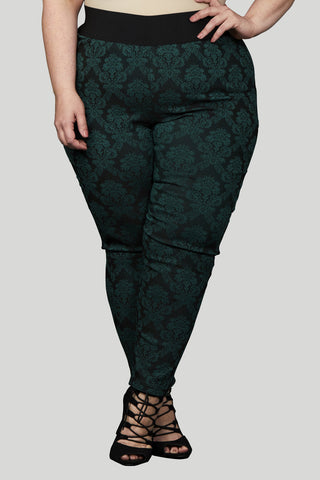 High Waisted Damask Pull On Skinny Pant - Green