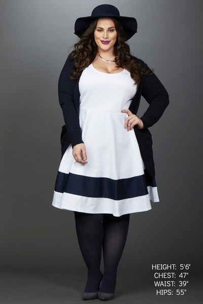 Plus Size Clothing for Women - Classic Stripe Skater Dress - White - Society+ - Society Plus - Buy Online Now! - 1