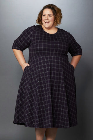 Plus Size Clothing for Women - I'm Plaidered Skater Dress - Purple/Black - Society+ - Society Plus - Buy Online Now! - 1