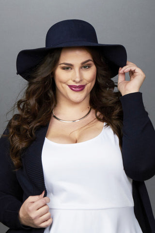 Plus Size Clothing for Women - Harper Floppy Hat - Navy - Society+ - Society Plus - Buy Online Now! - 1