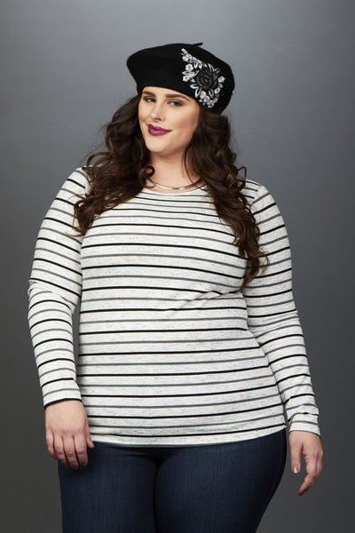 Plus Size Clothing for Women - Miss Audra Long Sleeve Top - Grey with Charcoal/Black - Society+ - Society Plus - Buy Online Now! - 2