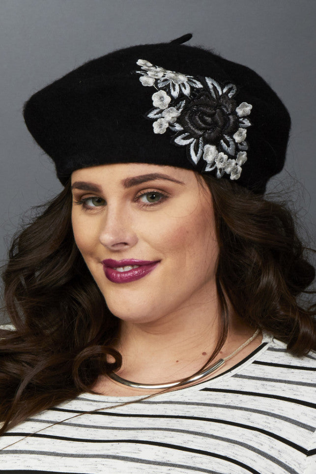 Plus Size Clothing for Women - Bibi Embroidered Beret - Black - Society+ - Society Plus - Buy Online Now! - 1