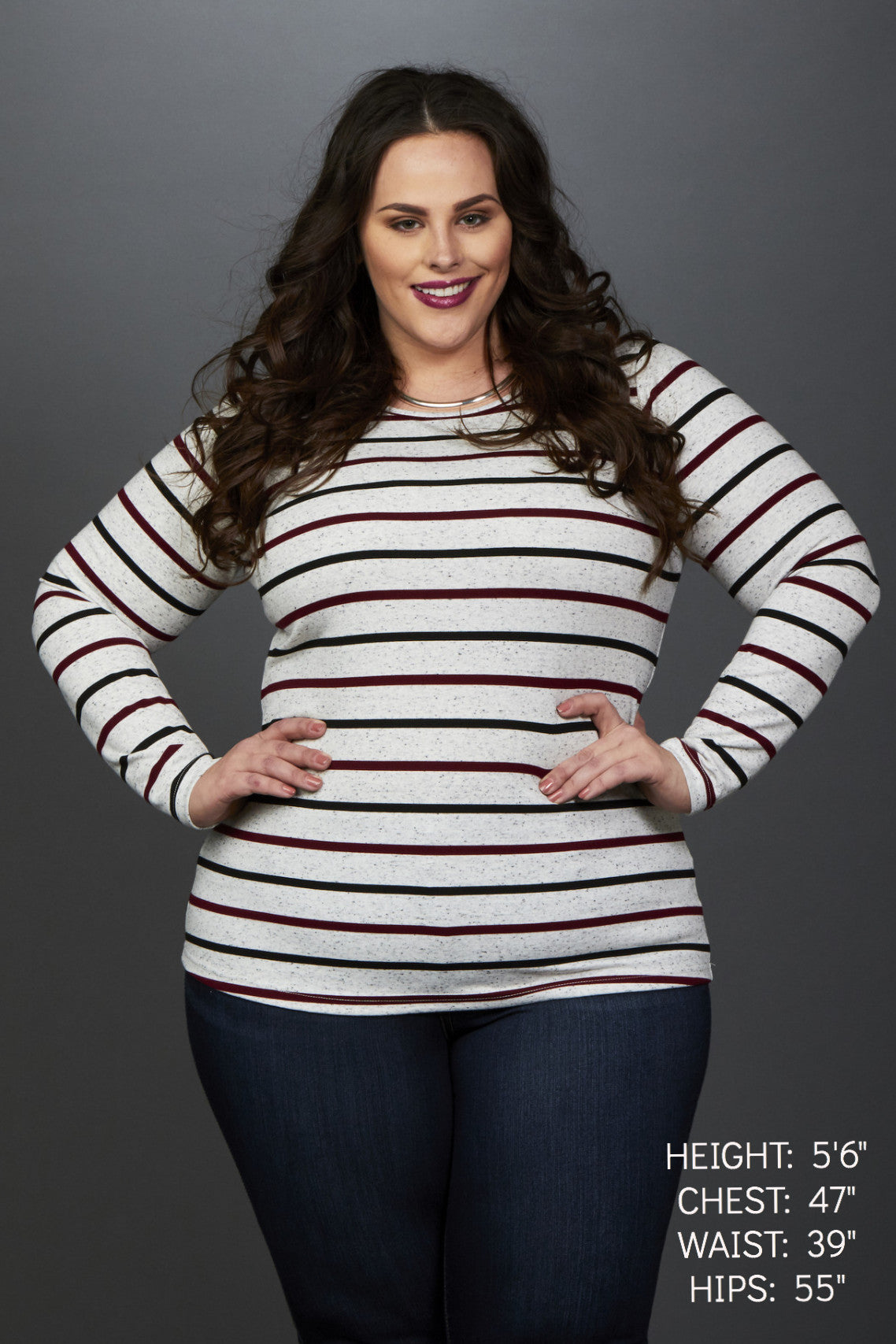 Plus Size Clothing for Women - Miss Audra Fitted Long Sleeve Top - Grey with Wine/Black - Society+ - Society Plus - Buy Online Now! - 1