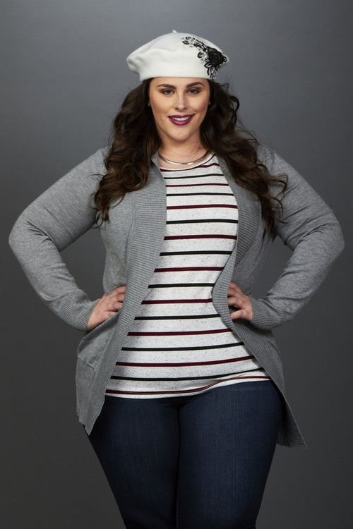 9771b601a29681 Plus Size Clothing for Women - Miss Audra Fitted Long Sleeve Top - Grey  with Wine