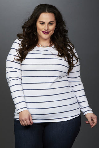 Plus Size Clothing for Women - Miss Audra Long Sleeve Top - White/Navy - Society+ - Society Plus - Buy Online Now! - 1