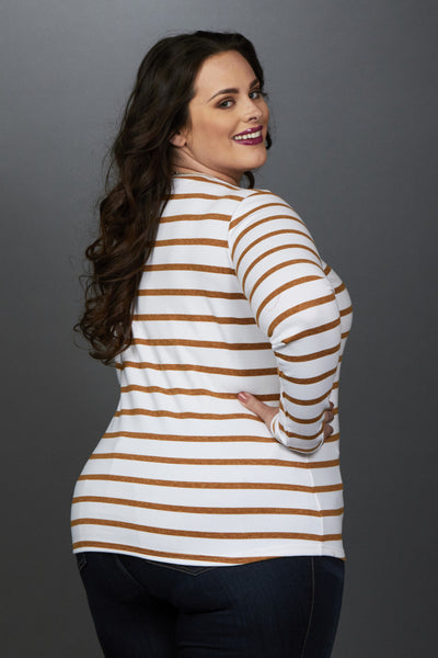 Plus Size Clothing for Women - Miss Audra Fitted Long Sleeve Top - White/Caramel - Society+ - Society Plus - Buy Online Now! - 2