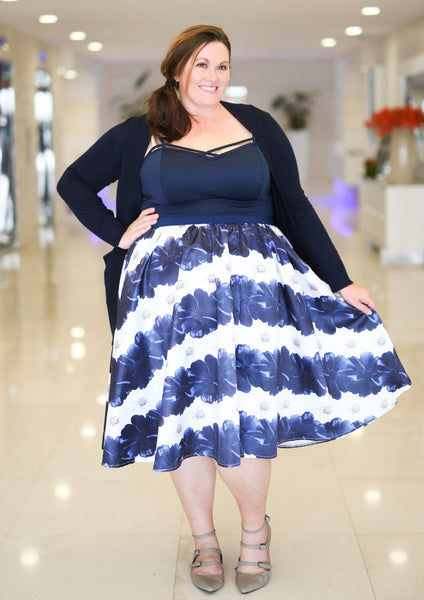 Plus Size Clothing for Women - Soiree Midi Skirt - Blue/White Floral Stripe - Society+ - Society Plus - Buy Online Now! - 2