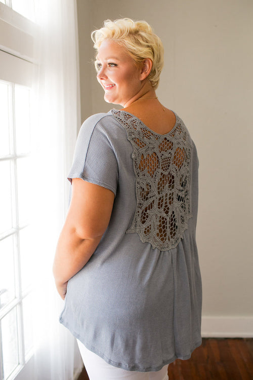 Plus Size Clothing for Women - Crochet Back Top - Gray - Society+ - Society Plus - Buy Online Now! - 1