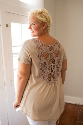 Plus Size Clothing for Women - Crochet Back Top - Taupe - Society+ - Society Plus - Buy Online Now! - 1