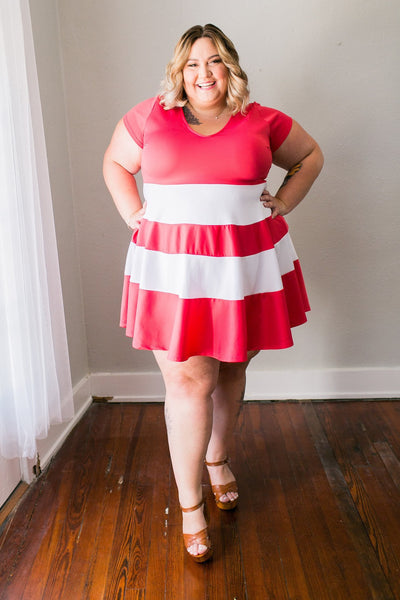 Plus Size Clothing for Women - V-Neck Skater Dress - Coral - Society+ - Society Plus - Buy Online Now! - 1