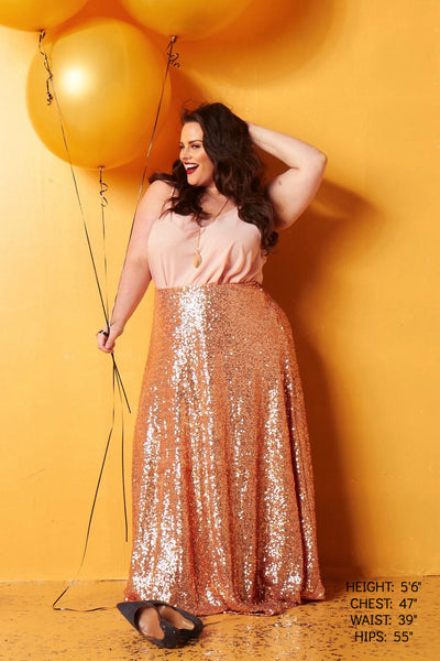 Plus Size Clothing for Women - Showstopper Sequin Maxi Skirt - Rose Gold - Society+ - Society Plus - Buy Online Now! - 1