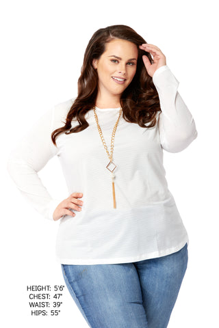 Plus Size Clothing for Women - Sheer Luck Long Sleeve Top - White - Society+ - Society Plus - Buy Online Now! - 1