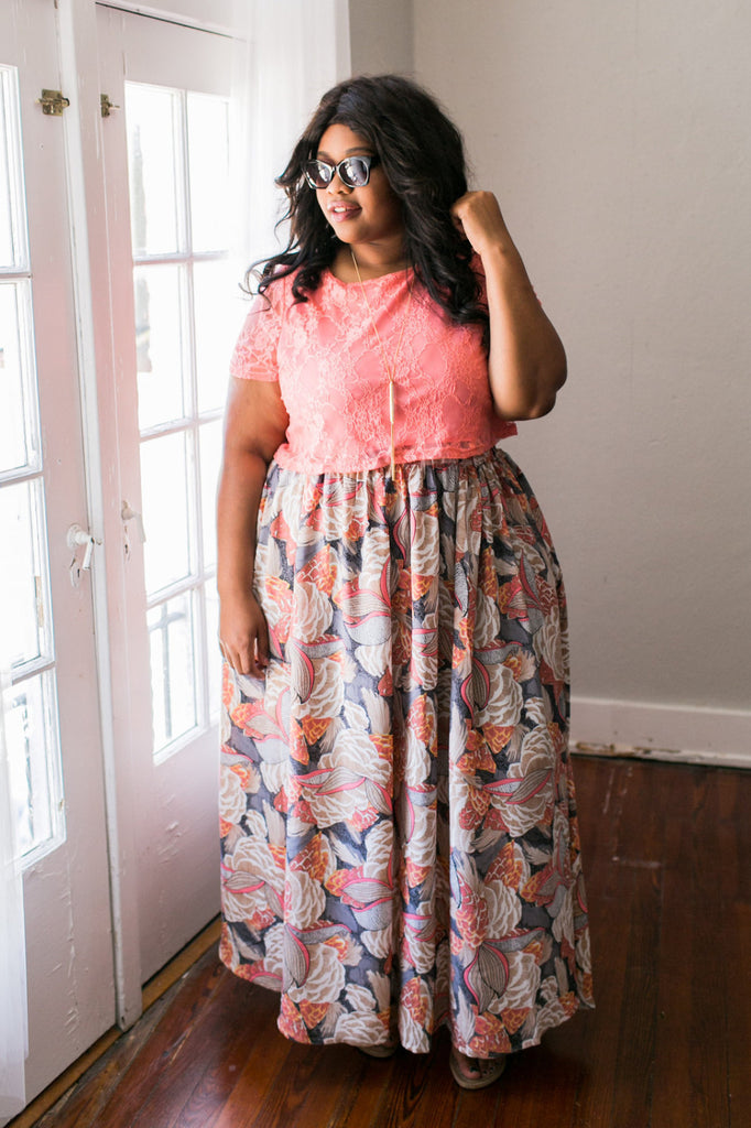 Plus Size Clothing for Women - Twirl Maxi Skirt with Pockets - Salmon - Society+ - Society Plus - Buy Online Now! - 1