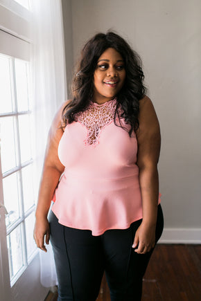 Plus Size Clothing for Women - Love for Peplum Top - Peach - Society+ - Society Plus - Buy Online Now! - 1