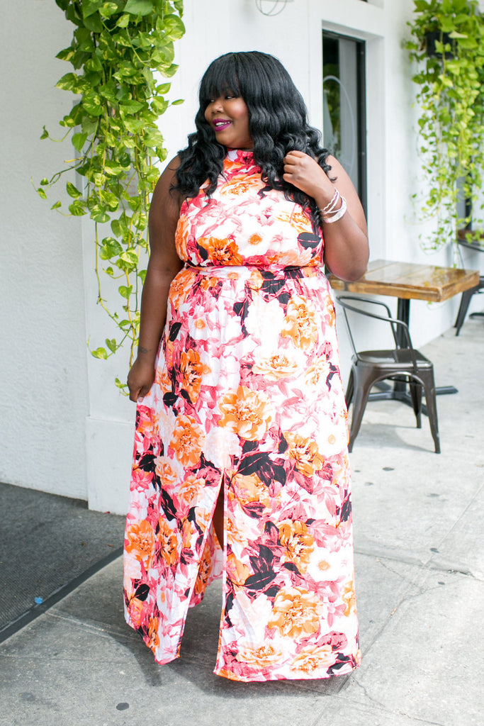 Plus Size Clothing for Women - Abstract Floral Maxi Dress for Curves On A Budget - Society+ - Society Plus - Buy Online Now! - 1