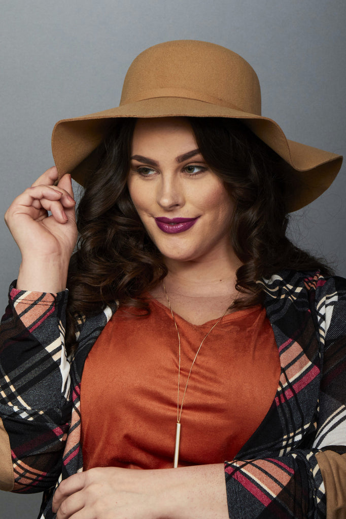Plus Size Clothing for Women - Harper Floppy Hat - Cognac - Society+ - Society Plus - Buy Online Now! - 1