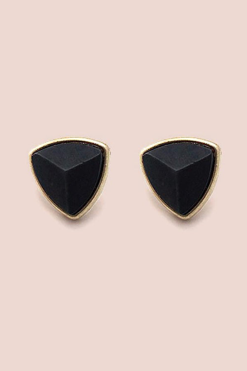Triangle Stone Earring- Gold/Black