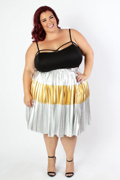Plus Size Clothing for Women - Jessica Kane Silver/Gold Pleated Skirt - Society+ - Society Plus - Buy Online Now! - 4