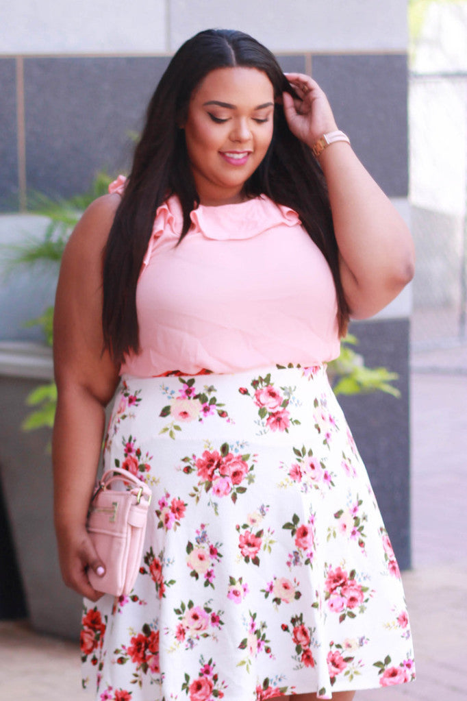 Plus Size Clothing for Women - Ruffle Neck Blouse - Peach for Curves On A Budget - Society+ - Society Plus - Buy Online Now! - 1