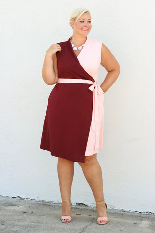 Color-block Power Dress - Light Pink/Burgundy