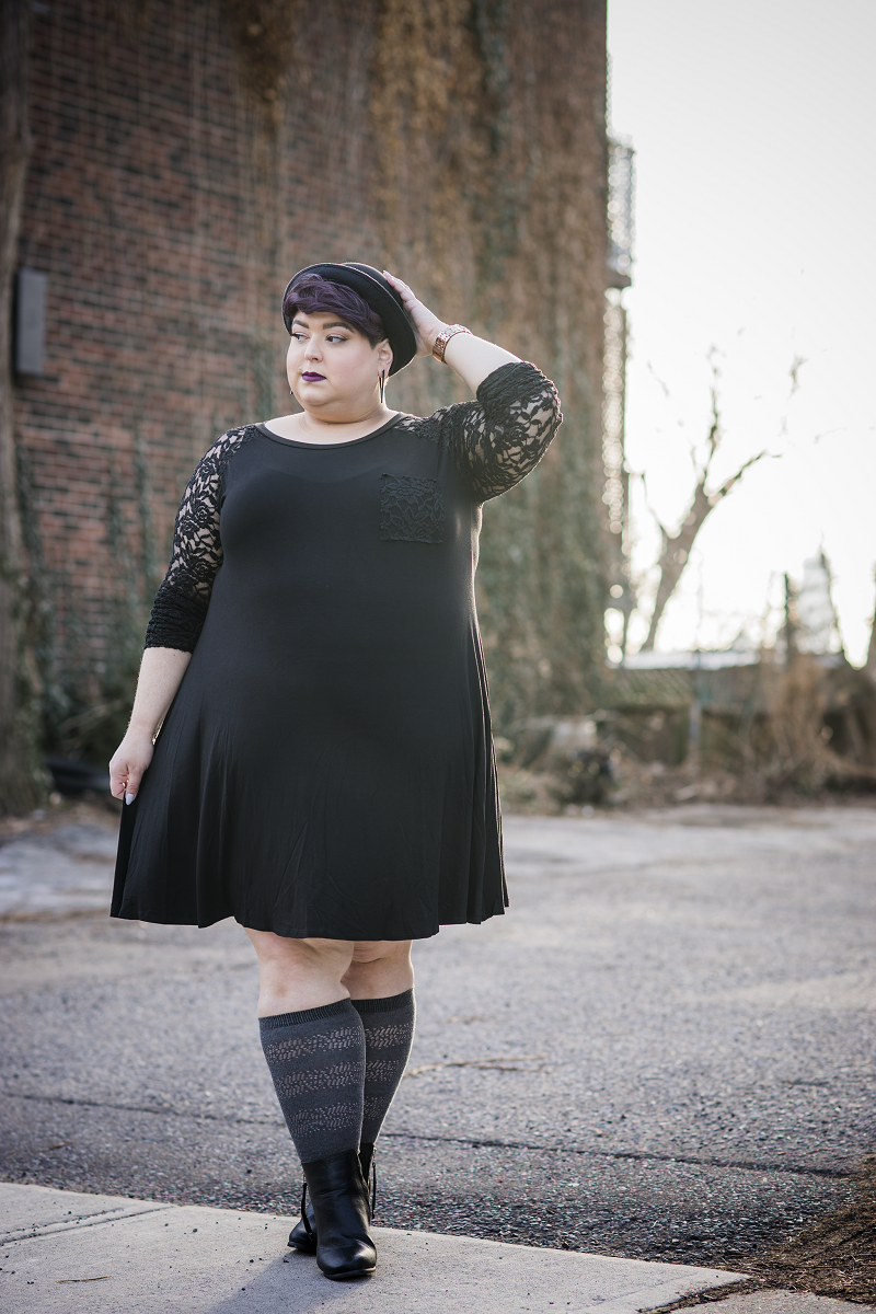 Classy and chic, but still comfy. This plus size trapeze dress with lace arms for coverage is a perfect date night out. Treat yourself! 94% Rayon, 6% Spandex Dry clean or hand wash cold Hang dry Made in U.S.A Front length Back length Arm hole Size:14/16 33