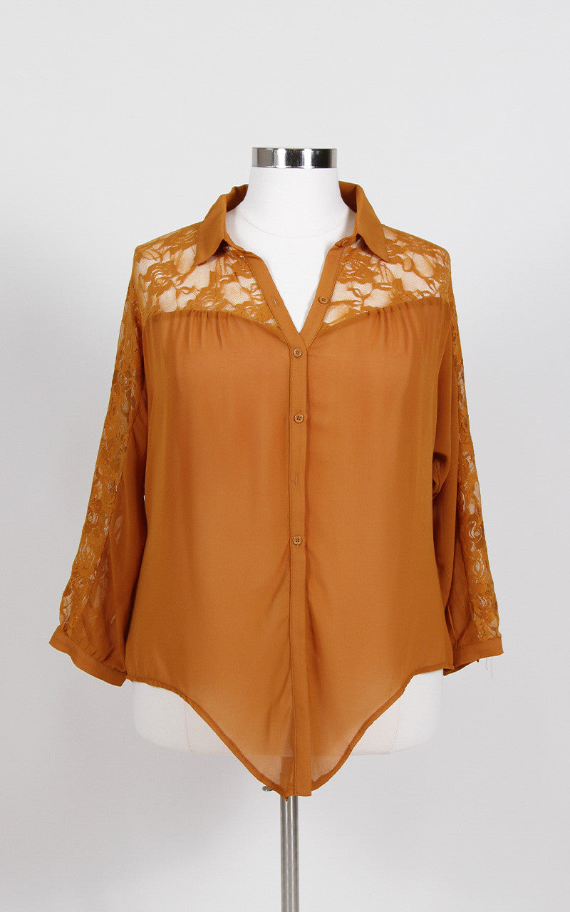 Mustard colored button up top, with lace detail and tie up hem. 100% Polyester Hand wash Hang dry Made in China Front length (Untied) Back Length Sleeve length Arm hole Size: 27