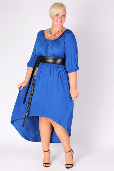 Plus Size Clothing for Women - Flowy High Low Dress - Blue - Society+ - Society Plus - Buy Online Now! - 1