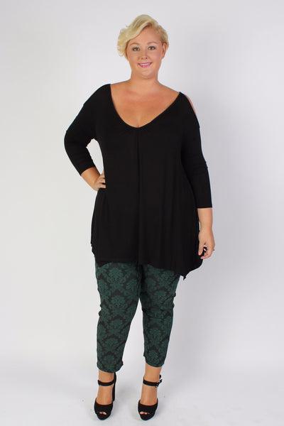 Plus Size Clothing for Women - High Waisted Serena Damask Pull On Skinny Pant - Dark Green - Society+ - Society Plus - Buy Online Now! - 1