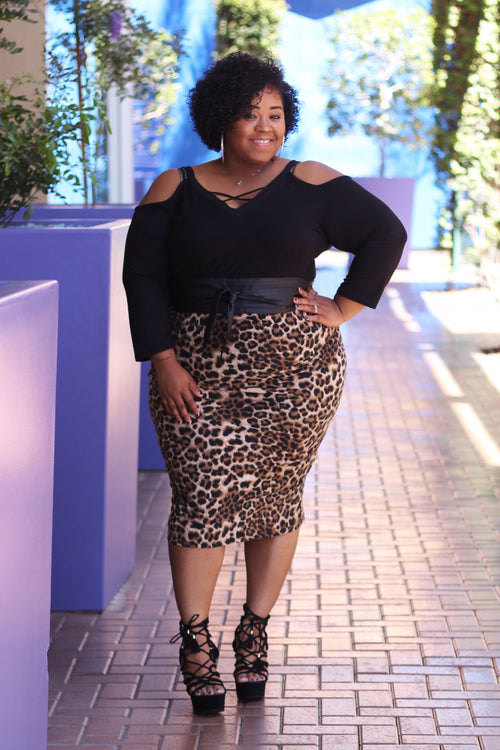Luna Pencil Skirt - Leopard
