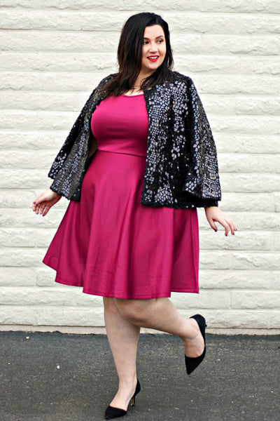 Plus Size Clothing for Women - Tinley Solid Skater Dress - Marsala - Society+ - Society Plus - Buy Online Now! - 1