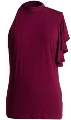 Charlotte Ruffle Sleeve Mock Neck Top - Berry