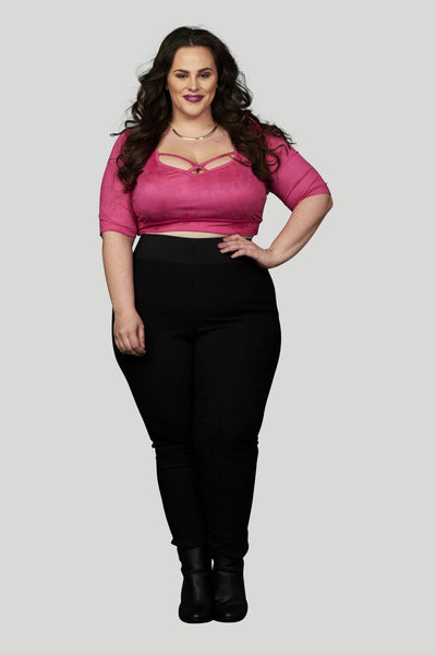 Plus Size Clothing for Women - High Waisted Serena Damask Pull On Skinny Pant - Black - Society+ - Society Plus - Buy Online Now! - 4