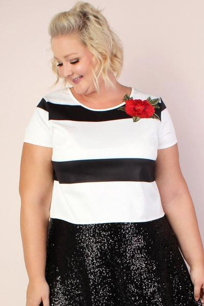 Jessica Kane Rose Striped Midi Top