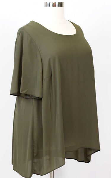 Plus Size Clothing for Women - The Thamarr Collection Chiffon Top - Olive - Society+ - Society Plus - Buy Online Now! - 3