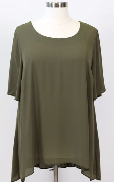 Plus Size Clothing for Women - The Thamarr Collection Chiffon Top - Olive - Society+ - Society Plus - Buy Online Now! - 2