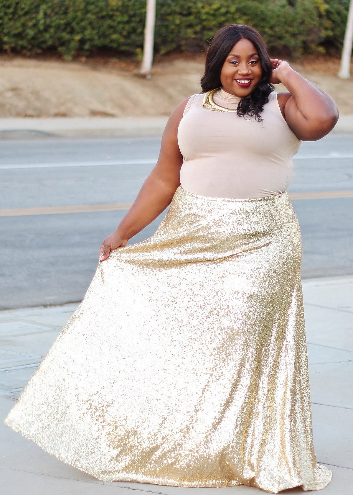 Plus Size Clothing for Women - The Showstopper Sequin Maxi Skirt - Gold - Society+ - Society Plus - Buy Online Now! - 2