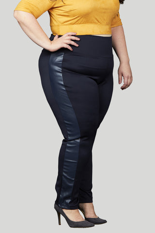 Scuba & Faux Leather Tuxedo Pull-on Skinny Pant - Navy
