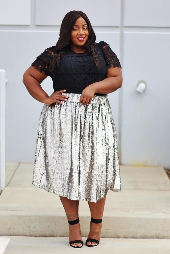 Plus Size Clothing for Women - Mermaiden Sequin Skirt - Silver - Society+ - Society Plus - Buy Online Now! - 1
