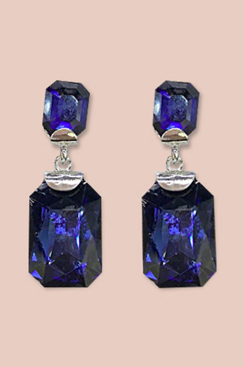 Gemstone Post Earrings- Silver/Navy