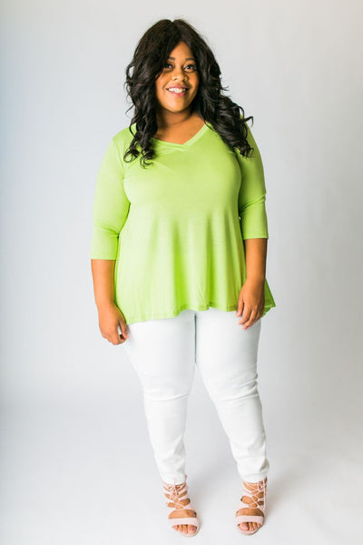Plus Size Clothing for Women - 3/4 Sleeve Top - Avocado - Society+ - Society Plus - Buy Online Now! - 1