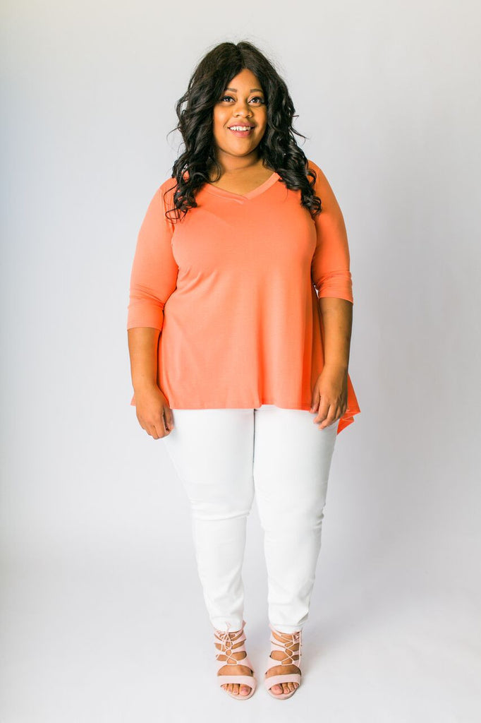 Plus Size Clothing for Women - 3/4 Sleeve Top - Orange - Society+ - Society Plus - Buy Online Now! - 1