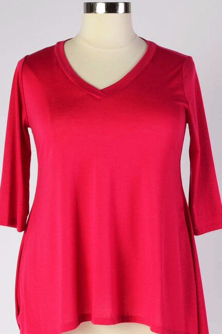 Plus Size Clothing for Women - Half Sleeve Solid Top - Fuchsia - Society+ - Society Plus - Buy Online Now! - 1