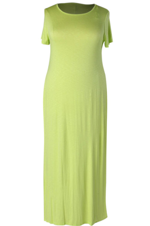 Neon Side Slit Maxi Dress