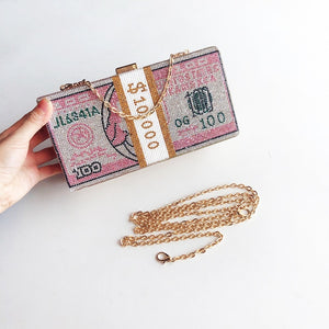 Pre- Order Stack of Cash Crystals Clutch
