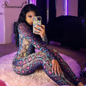 Pre-order Snake Print Bodycon Jumpsuit