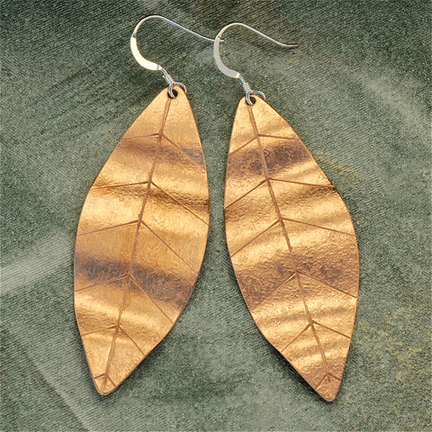 Copper leaf earrings - lg.