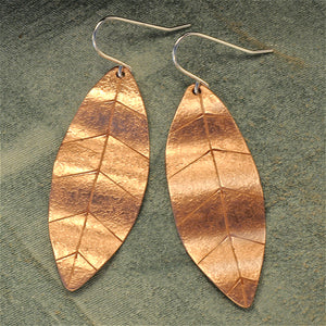 Copper leaf earrings - sm.
