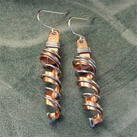 Tall wire wrapped twirly copper earrings