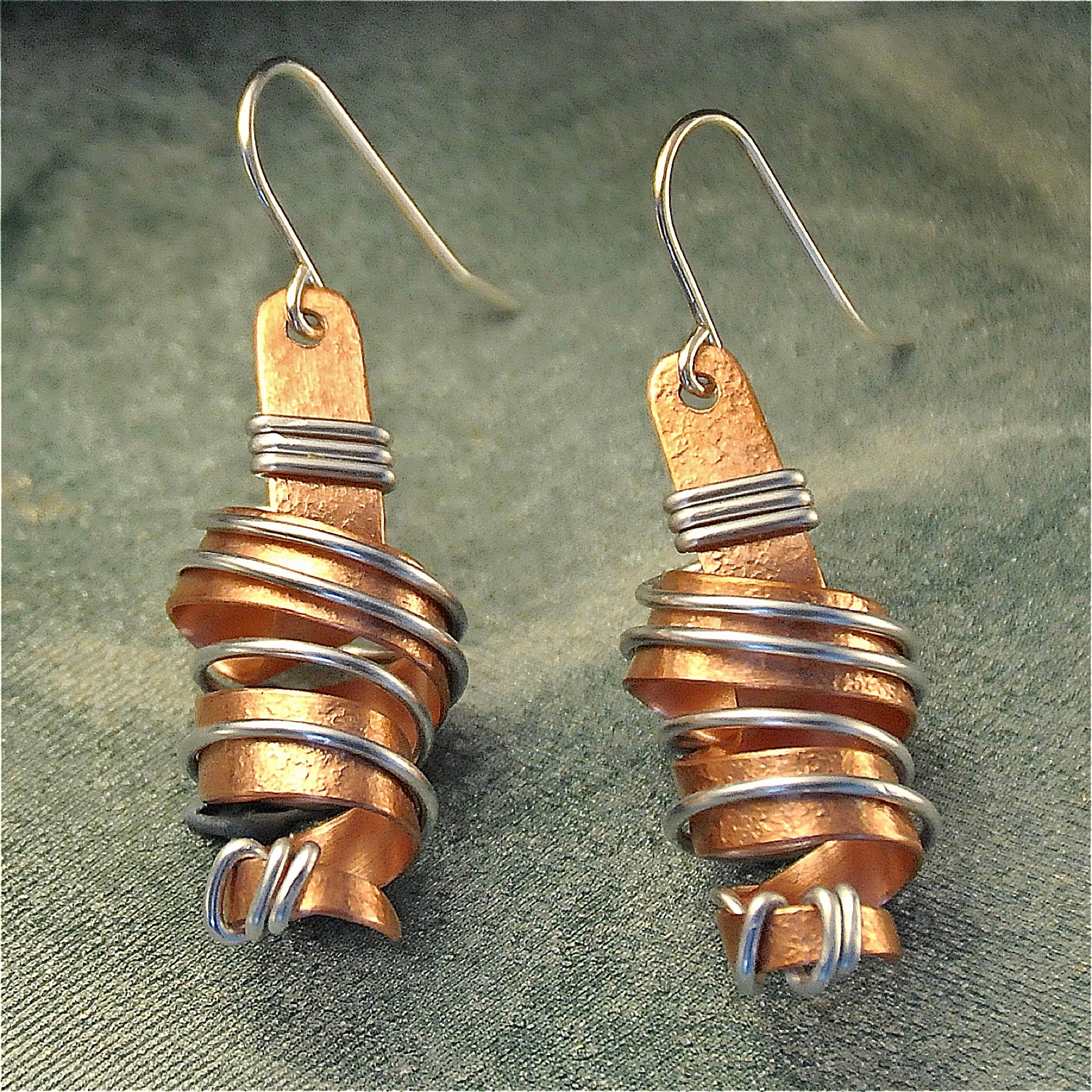 Small wire wrapped twirly copper earrings